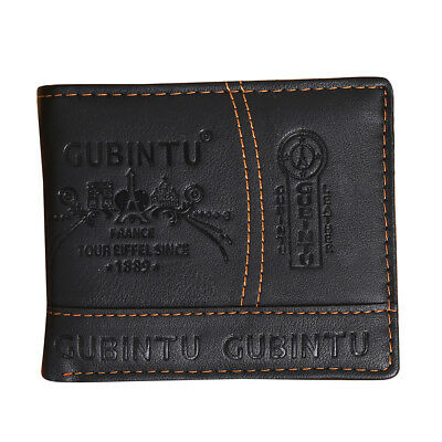 Mens Luxury Leather Bifold Wallet Credit/ID Card Receipt Holder Slim Coin P C8Z5