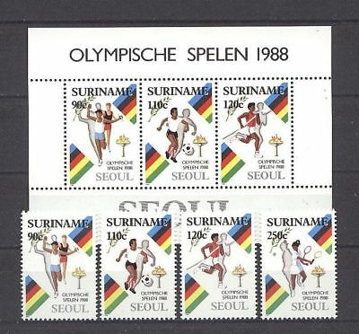 Olympiade 1988, Olympic Games - Surinam - 1264-1267, Bl.47 ** MNH 1988