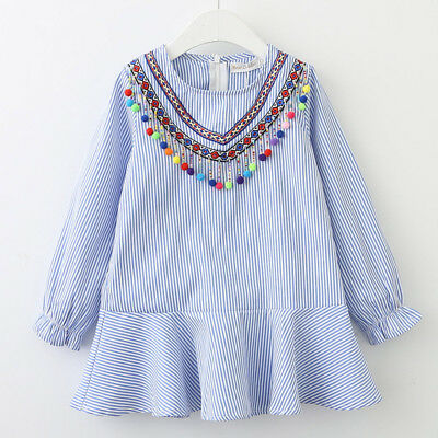 Kids Toddler Baby Girl's Ruffles Long Sleeve Casual Dress Princess Party Dresses