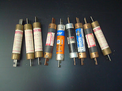9 pcs pulled 600VAC mixed fuses, 600VAC 80, 90, 100 amps littlefuse, gould, etc