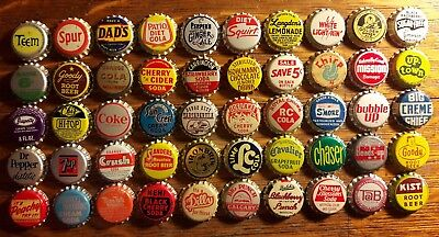 50 old SODA BOTTLE CAPS unused cork