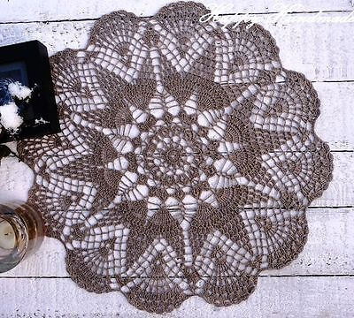 HaHa Large Grey Linen Crochet 41cm (16 inch) Round Doily /wedding/ made-to-order