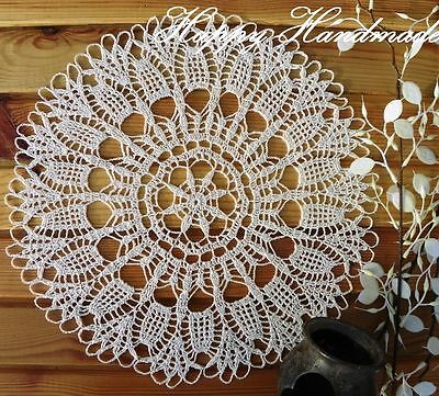HaHa Large White Linen Crochet 33cm (13 inch) Round Doily /wedding/made-to-order