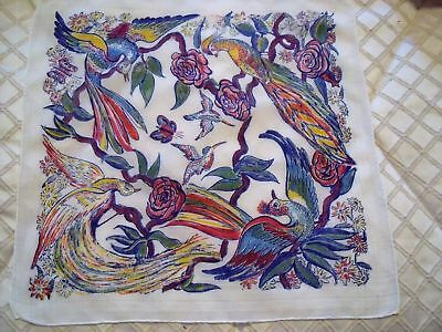 Vintage Handkerchief Printed Cotton with Birds & Flowers large size