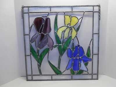 LOVELY Old Vintage Leaded STAINED GLASS - SLAG GLASS Window Panel IRIS Flowers
