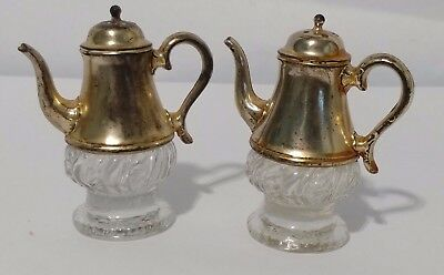 Vintage Silver Plate and Glass Salt and Pepper Shakers Vintage