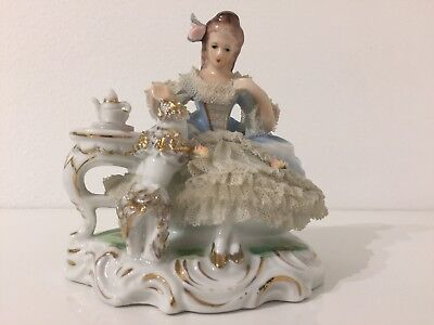 Vintage Germany Porcelain Lace China Figurine Seated Lady With Poodle