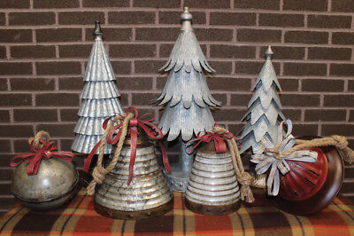 Christmas Home Decor - Large Metal Vintage Distressed Bell on Rope