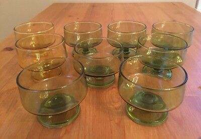 9 Vintage MID CENTURY GREEN YELLOW GLASS DESSERT CUPS COCKTAIL STACKING DANSK