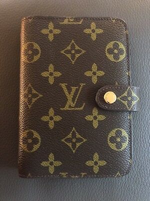 Authentic Louis Vuitton Brown Monogram Canvas Small Ring Agenda Cover