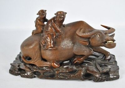 Antique Chinese Carved Wooden Figurine Modelled As A Water Buffalo
