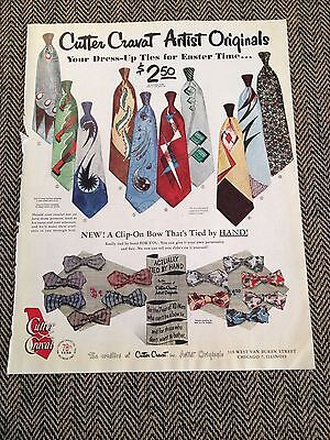 "1951 Cutter Cravat Artist Originals Mens Necktie Ad- 10 1/2"" X 13 1/2"""