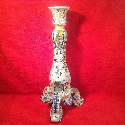 Antique Quimper Rouen French Faience Candle Stick, ff298  GIFT QUALITY!!