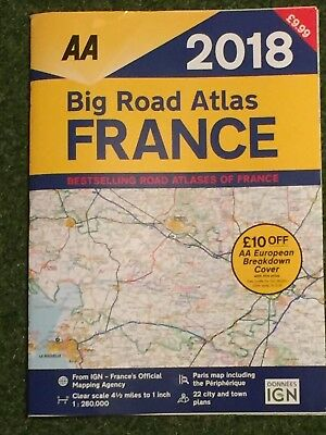 2018 AA BIG ROAD ATLAS OF FRANCE / LARGE FRENCH MAP Inc TOWN PLANS CITY MAPS NEW