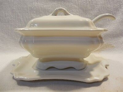 Vintage Red Cliff White Ironstone Small Individual Tureen W/Ladle & Underplate