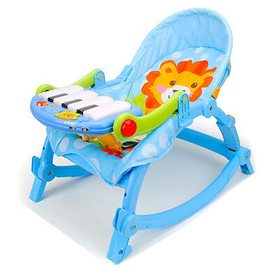 YAYAYA 3 in 1 Baby Toddler Rocking Chair Infant Bouncer Music Baby Piano Cradle