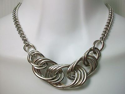 "Vintage Silver Tone Metal Chain Necklace Large Links 15"" Short"