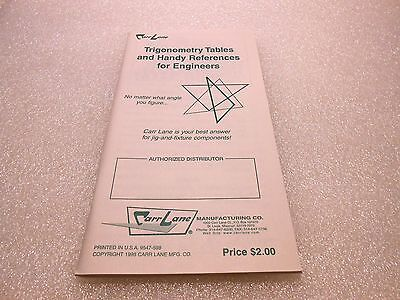 Carr Lane Trigonometry Tables & Handy References For Engineers Trig Book 1998