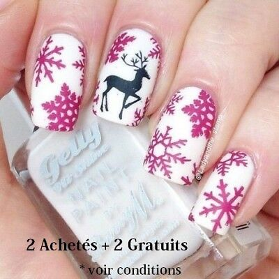 ❤️nouveau Stickers Noel Water Decals Bijoux Ongles Nail Art