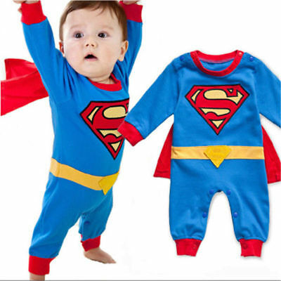 New Baby Boys Spiderman Superman Outfit Romper Bodysuit Costume Clothes Gifts