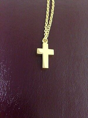 """Memorial Cremation Jewellery/Pendant/Urn/Keepsake for Ashes-Gold Cross"""""""
