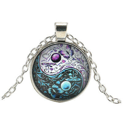 Ying Yang Butterfly Cabochon Glass Pendant Silver Chain Necklace Jewelry X8 D5X4