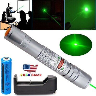 Green Laser Pointer Pen 20 Miles 1mW 532nm Beam High Power Lazer+Battery+Charger
