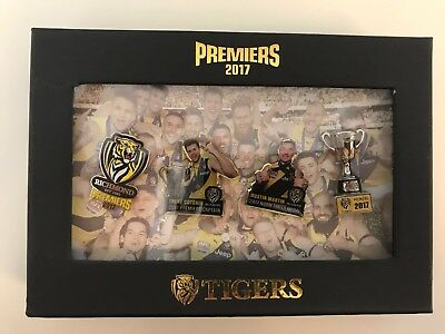 333245 Richmond Tigers 2017 Afl Premiers Set Of 4 Pin Badges In Presentation Box