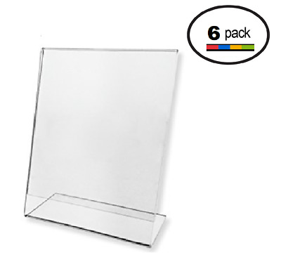 "Plexi Acrylic 8.5"" X 11"" Single Slant Back Design Clear Sign Holder Pack 6"
