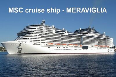 SOUVENIR FRIDGE MAGNET of CRUISE SHIP MERAVIGLIA - MSC CRUISES