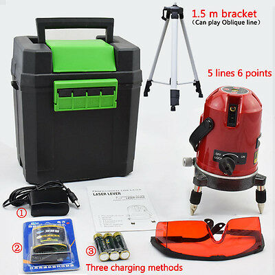 Pro 5 Line 6 Point Auto Self Leveling Rotary Laser Level Meter With Stand Set
