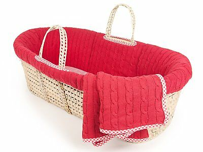 Tadpoles Cable Knit Moses Basket and Bedding Set, Red
