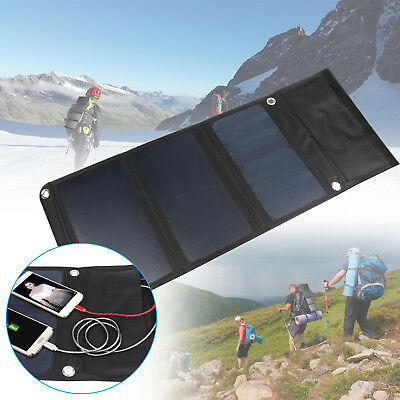 21W Outdoor Solar Power Charger Foldable Dual USB Max 18V 3.5A for Camping