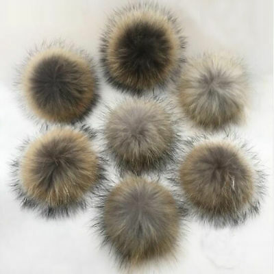 Furry Raccoon Pom Fur Ball Pom Hats Caps Snap Leather Shoes Accessories Pompom