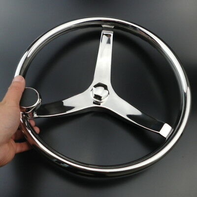 "3 Spoke 13.5"" Stainless Steel Boat Steering Wheel + Knob For SeaStar and Verado"