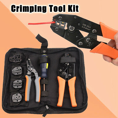 Crimping Tool Kit 5 Changeable Jaws For Insulated&Non-Insulated 0.5-35mm