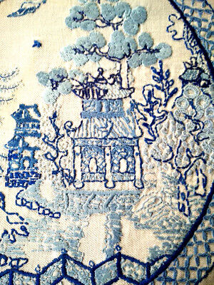 Spectacular Blue Willow Pattern ~ Heavily Raised Hand Embroidered Picture Panel