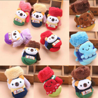 Child Kids Baby Girl Boy Thick Fur Knit Gloves Neck String Mittens Winter Warmer