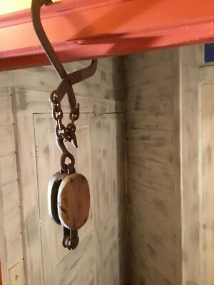 Antique Vintage heavy duty Hand Forged Barn Beam Hook & Boston Block Pulley