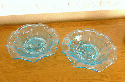 Pair of Vintage 3 Footed Turquoise Blue Pressed Glass Dishes