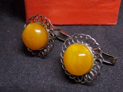 VTG natural yolk baltic king amber stone cufflink silver sleeve link 老琥珀 波羅的海琥珀