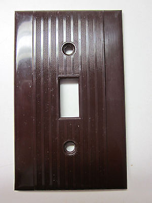 Vintage Reliance Ribbed Lines Bakelite Brown Switch Wall Plate Cover Art Deco