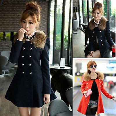Womens Winter Trench Parka Slim Coat Warm Overcoat Fur Neck Long Jacket Outwear
