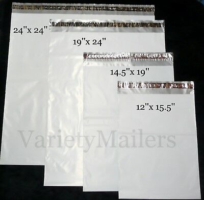 35 LARGE 2.5 Mil Poly Bag Shipping Envelopes 24x24 19x24 14.5x19 12x15.5