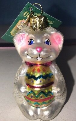 Old World Christmas The Glass Easter Bunny w/ Pink Bow Ornament NWT