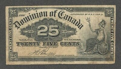 1900 Twenty-Five Cents DC-15b aF * Scarce OLD Dominion of Canada 25¢ Shinplaster