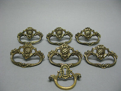 Antique drawer pulls -Solid brass- Set of 6 + 1 escutcheon key hole cover/handle
