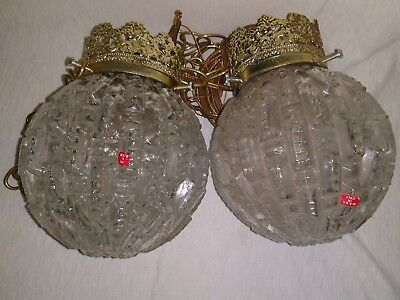 Vintage glass globe made in Italy hanging ceiling light set