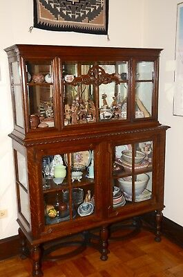 Beautiful English Antique Two Glass Doors Tall Display Cabinet.