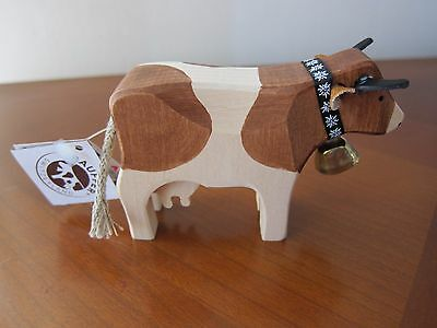 "SWISS HANDMADE HANDPAINTED  4"" WOODEN COW From SWITZERLAND GIFT SOUVENIR BROWN"